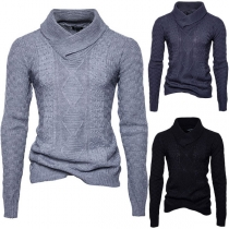 Fashion Solid Color Long Sleeve Stand Collar Men's Sweater