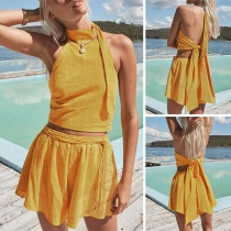 Sexy Backless Halter Crop Top + Shorts Solid Color Two-piece Set