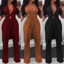 OL Style Sleeveless Blazer + High Waist Pants Two-piece Set