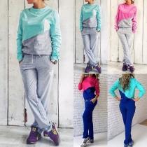 Fashion Contrast Color Long Sleeve Sweatshirt + Pants Sports Suit