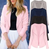 Elegant Solid Color Long Sleeve Lapel Slim Fit Blazer