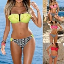 Sexy Contrast Color Printed Ruffle Bikini Set