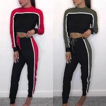 Fashion Contrast Color Long Sleeve Crop Top + Sports Pants Two-piece Set