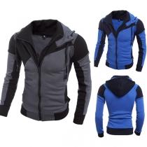 Fashion Contrast Color Long Sleeve Hooded Men's Sweatshirt Coat