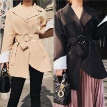 Elegant Solid Color Long Sleeve Irregular Hem Blazer with Waist Strap