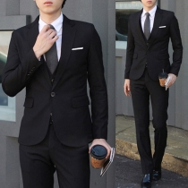 Fashion Solid Color Lapel Long Sleeve Slim Fit Man's Blazer