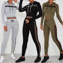 Fashion Gauze Spliced Long Sleeve Hoodie + High Waist Pants Sports Suit