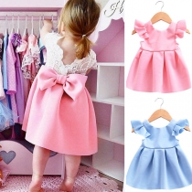 Sweet Style Lace Spliced Bowknot Dress for Children