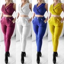 Fashion Solid Color Lapel Sleeveless Shirt + Slim Fit Pants Blazer Two-piece Set
