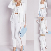 OL Style Gauze Spliced Long Sleeve Blazer + High Waist Pants Two-piece Set