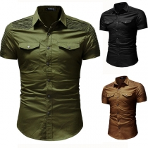 Fashion Solid Color Long Sleeve POLO Collar Men's Shirt