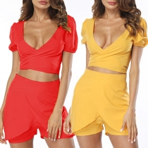 Sweet Solid Color Deep V-neck Short Sleeve Twist Top + Shorts Two-piece Set