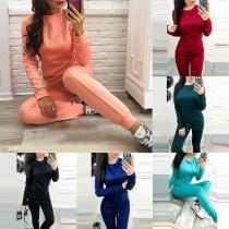 Fashion Solid Color Long Sleeve Sweatshirt + Pants Sports Suit