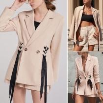 OL Style Long Sleeve Slim Fit Lace-up Blazer