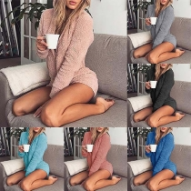 Fashion Solid Color Long Sleeve Hooded Home-wear Romper