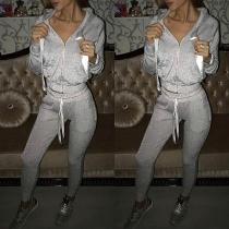 Fashion Long Sleeve Hooded Sweatshirt Coat + Pants Two-piece Set
