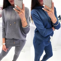 Fashion Solid Color Long Sleeve Hooded Casual Sports Suit