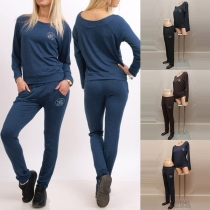 Causal Solid Color Round Neck Long Sleeve Sweatshirt+High Waist Pants Sports Suit