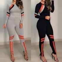 Fashion Contrast Color Long Sleeve Top + Leggings Sports Suit