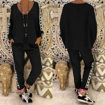 Fashion Printed Spliced V-neck Top + Pants Two-piece Set