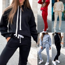 Fashion SOlid Color Long Sleeve Hoodie + Pants Sports Suit