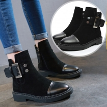 Fashion Flat Heel Rounsd Toe Side-zipper Ankle Boots Booties