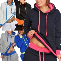 Fashion Contrast Color Long Sleeve Casual Sports Suit