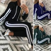 Fashion Stripe Trim Drawstring Hooded Sweatshirt+Side Stripe Pants Two Piece Set