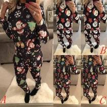 Fashion Christmas Printed Long Sleeve Mock Neck Sweatshirt + Pants Two-piece Set