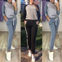 Fashion Contrast Color Long Sleeve Round Neck Sweatshirt + Pants Sports Suit