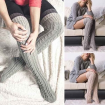 Fashion Solid Color Over-the-Knee Cable Knitted Socks