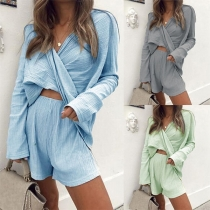 Sexy Long Sleeve Crossover V-neck Top + Shorts Two-piece Set
