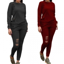 Fashion Solid Color Long Sleeve Sweatshirt + Ripped Pants Two-piece Set