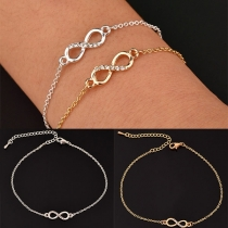 Fashion Rhinestone Inlaid Infinite Symbols Pendant Bracelet