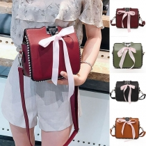 Sweet Style Bowknot Beaded Shoulder Messenger Bag