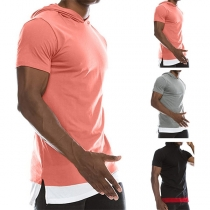 Fashion Contrast Color Short Sleeve Hooded Men's T-shirt