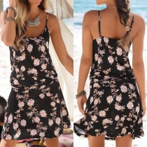 Sexy Backless Printed Sling Dress
