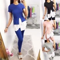 Fashion Short Sleeve Irregular Hem Top + Pants Two-piece Set