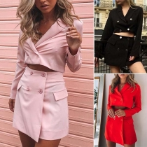 OL Style Long Sleeve Blazer + Skirt Two-piece Set