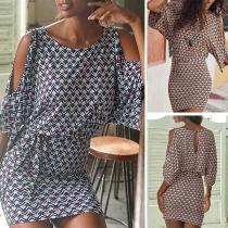 Sexy Off-shoulder Half Sleeve Slim Fit Printed Dress