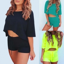 Fashion Solid Color Half Sleeve Crop Top + Shorts Two-piece Set(It falls small)