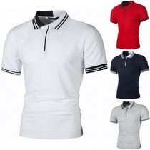 Fashion Striped SPliced POLO Collar Short Sleeve Man's Shirt