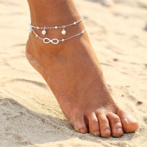Fashion Imitation Pearl Infinite Pendant Double-layer Anklet