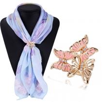 Fashion Rhinestone Inlaid Butterfly Shaped Silk Scarf Buckle