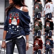 Cute Santa Claus Printed Long Sleeve Oblique Shoulder Thin Sweatshirt