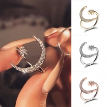 Fashion Rhinestone Inlaid Crescent Shaped Open Ring