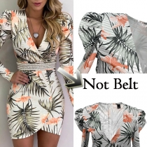 Sexy Deep V-neck Long Sleeve Irregular Hem Slim Fit Printed Dress(Without Belt)