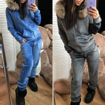 Fashion Faux Fur Spliced Hooded Sweatshirt Coat + Pants Two-piece Set