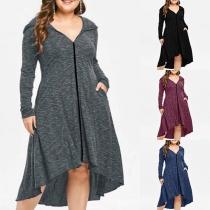 Fashion Long Sleeve Hooded High-low Hem Plus-size Dress