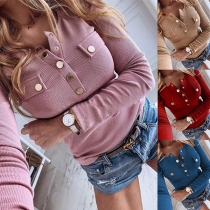 Fashion Solid Color Long Sleeve Round Neck Button T-shirt